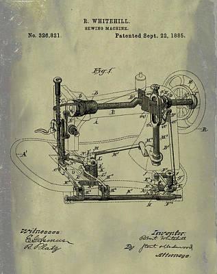 Whitehill Sewing Machine Patent 1885 Weathered Art Print