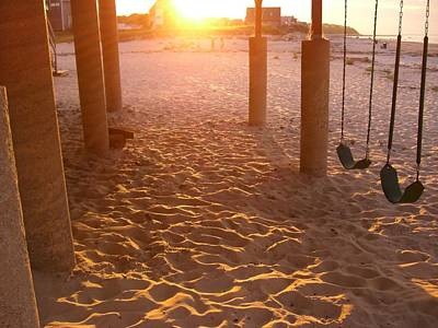 Whitehorse Beach - Swings Art Print by Nancy Ferrier