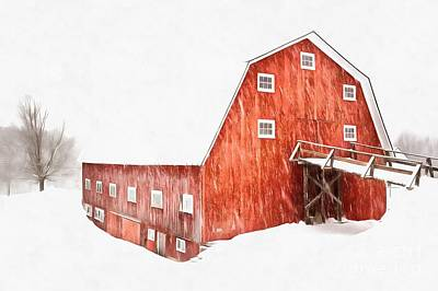 Print featuring the painting Whiteout On The Farm Blizzard Stella by Edward Fielding