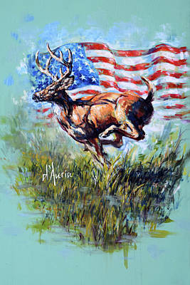 White-tailed Buck Painting - Whitetail Americana by Tom Dauria