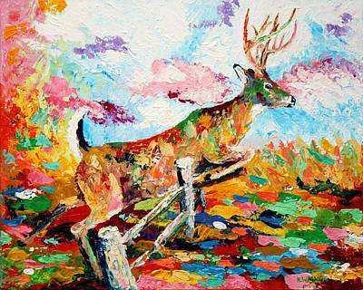 Painting - Whitetail Buck Jumping A Fence by Karl Wagner
