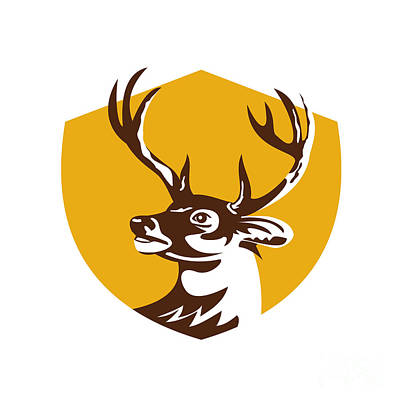 White Tail Deer Digital Art - Whitetail Deer Buck Head Crest Retro by Aloysius Patrimonio