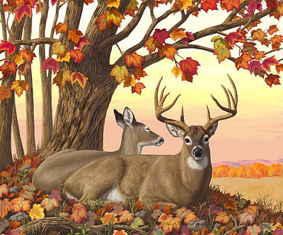 Whitetail Deer - Hilltop Retreat Horizontal Art Print by Crista Forest
