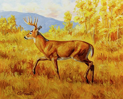 White-tailed Buck Painting - Whitetail Deer In Aspen Woods by Crista Forest
