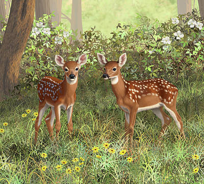 Whitetail Deer Wall Art - Painting - Whitetail Deer Twin Fawns by Crista Forest