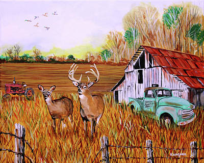 Painting - Whitetail Deer With Truck And Barn by Karl Wagner