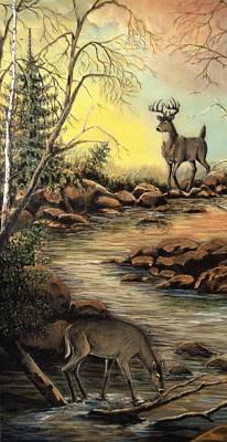 Whitetail Doe Buck Art Print