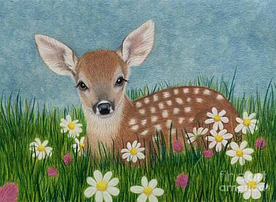 Whitetail Fawn Painting - Whitetail Fawn Hiding In The Flowers by Sherry Goeben