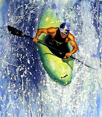 River Rafting Painting - Whitewater Kayaker by Lynee Sapere