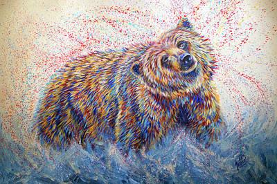 Bear Painting - Whitewater by Teshia Art