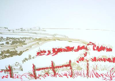 Drawing - Whiteway Viewpoint Dorset by Mike Jory