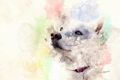 Siberian Husky Digital Art - Whitey Digital Watercolor Painting by Connie Leyman