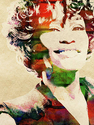 Musicians Royalty Free Images - Whitney Houston portrait Royalty-Free Image by Mihaela Pater