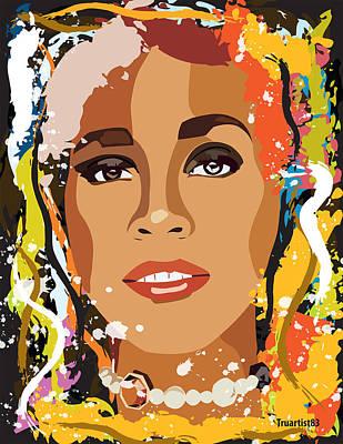 Rnb Digital Art - Whitney Houston by Saheed Fawehinmi