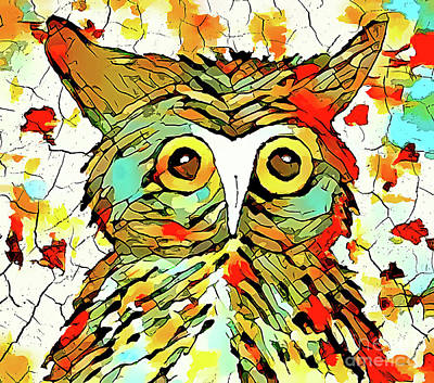 Digital Art - Who Gives A Hoot by Tina LeCour