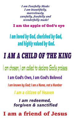 Who God Says I Am Art Print by Debbie Nobile