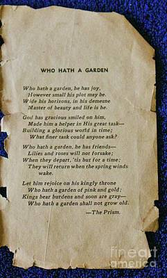 Photograph - Who Hath A Garden by Craig Wood