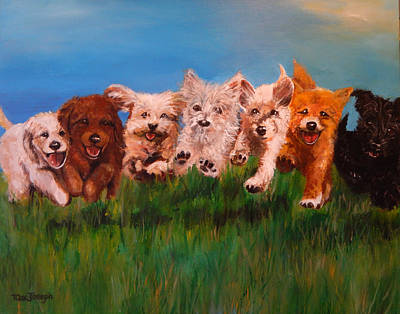 Barking Painting - Who Let The Dogs Out by Terry Cox Joseph