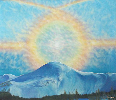 Snowscape Painting - Who Makes The Clouds His Chariot Fire Rainbow Over Alberta Peak by Anastasia Savage Ealy