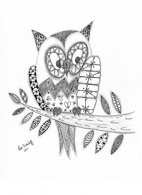 70s Drawing - Who Says The Owl by Paula Dickerhoff