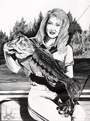 Drawing - Who Says Women Cant Fish by Cheryl Poland