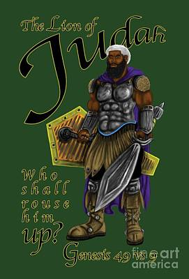 Digital Art - Who Shall Rouse Judah-yellow Trim by Robert Watson