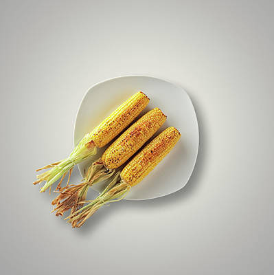 Whole Grilled Corn On A Plate Art Print by Johan Swanepoel