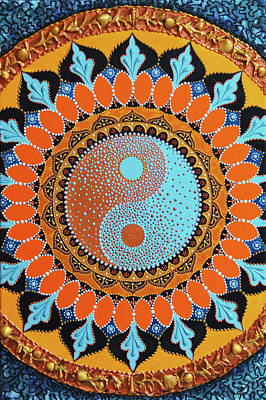 Painting - Wholeness Koi Fish Yin Yang Mandala by Olesea Arts