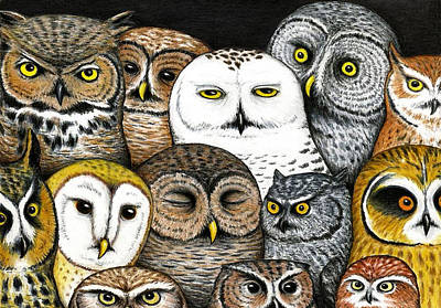 Owls Painting - Who's Hoo by Don McMahon