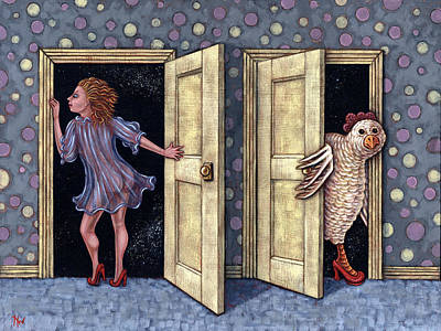 Pop Surrealism Painting - Who's There by Holly Wood