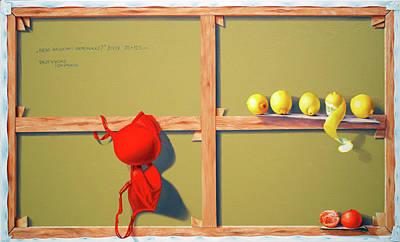Tangerine Painting - Whose Red Bra. by Tautvydas Davainis
