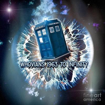 Whovians To Infinity Print by Robert Radmore
