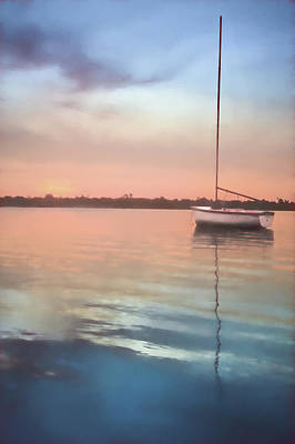 Photograph - White Boat At Evening by Debra and Dave Vanderlaan