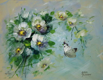 Whte Butterfly And Blossoms Art Print by David Jansen
