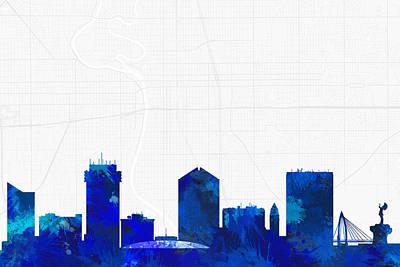 Silhouette Digital Art - Wichita Cityscape And Streetmap Blue Skyline by Jurq Studio