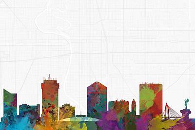 City Map Digital Art - Wichita Cityscape And Streetmap Skyline by Jurq Studio
