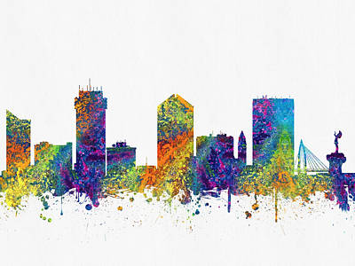 Towns Digital Art - Wichita Kansas Skyline Color03 by Aged Pixel
