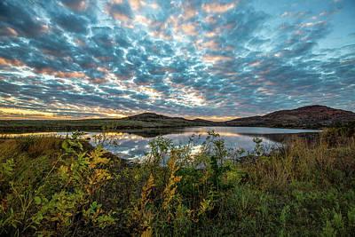 Photo Royalty Free Images - Wichitas Wonder - Mackerel Sky and Fall Sunset in Southwest Oklahoma Royalty-Free Image by Southern Plains Photography