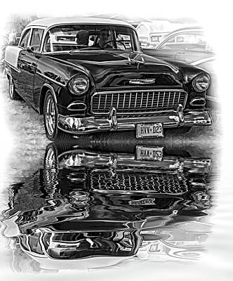 Purple V8 Photograph - Wicked 1955 Chevy - Reflection Bw by Steve Harrington
