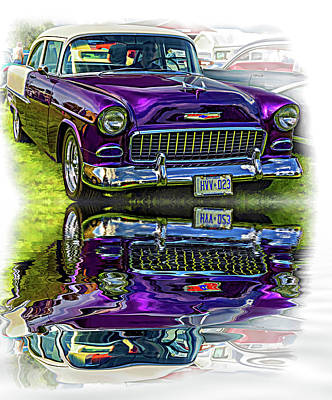 Purple V8 Photograph - Wicked 1955 Chevy - Reflection by Steve Harrington