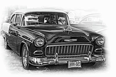 Purple V8 Photograph - Wicked 1955 Chevy - Vignette Paint Bw by Steve Harrington
