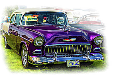 Purple V8 Photograph - Wicked 1955 Chevy - Vignette Paint by Steve Harrington