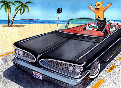 Pontiac Catalina Wall Art - Painting - Wicked Kitty's Catalina by Catherine G McElroy