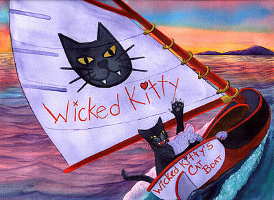 Wicked Kitty Painting - Wicked Kitty's Catboat by Catherine G McElroy