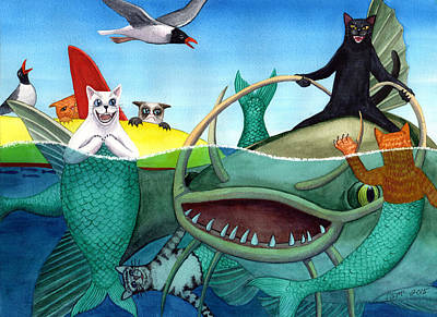 Catfish Painting - Wicked Kitty's Catfish by Catherine G McElroy