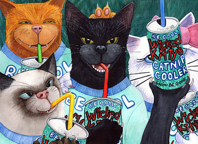 Wicked Kitty Painting - Wicked Kitty's Catnip Cooler by Catherine G McElroy