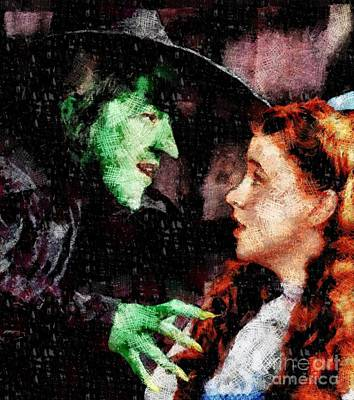 Fantasy Mixed Media - Wicked Witch and Dorothy, Wizard of Oz by Esoterica Art Agency