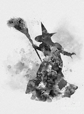 Mixed Media - Wicked Witch Of The West Black And White by Rebecca Jenkins