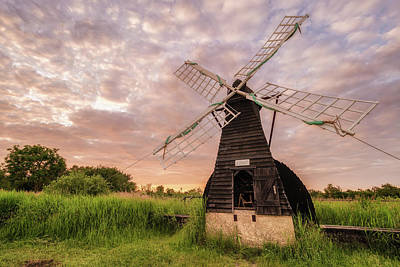 Wicken Wind-pump At Sunset II Art Print