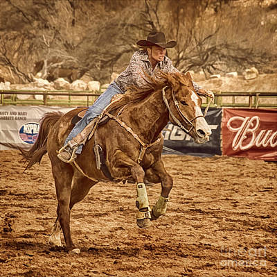 Of Rodeo Events Photograph - Wickenburg Senior Pro Rodeo Barrel Racing by Priscilla Burgers
